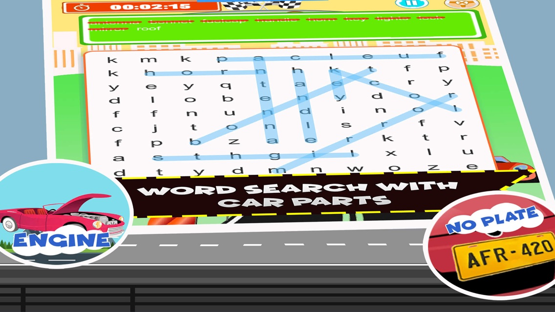 ABC Car Color Word Search Game App for iPhone - Free