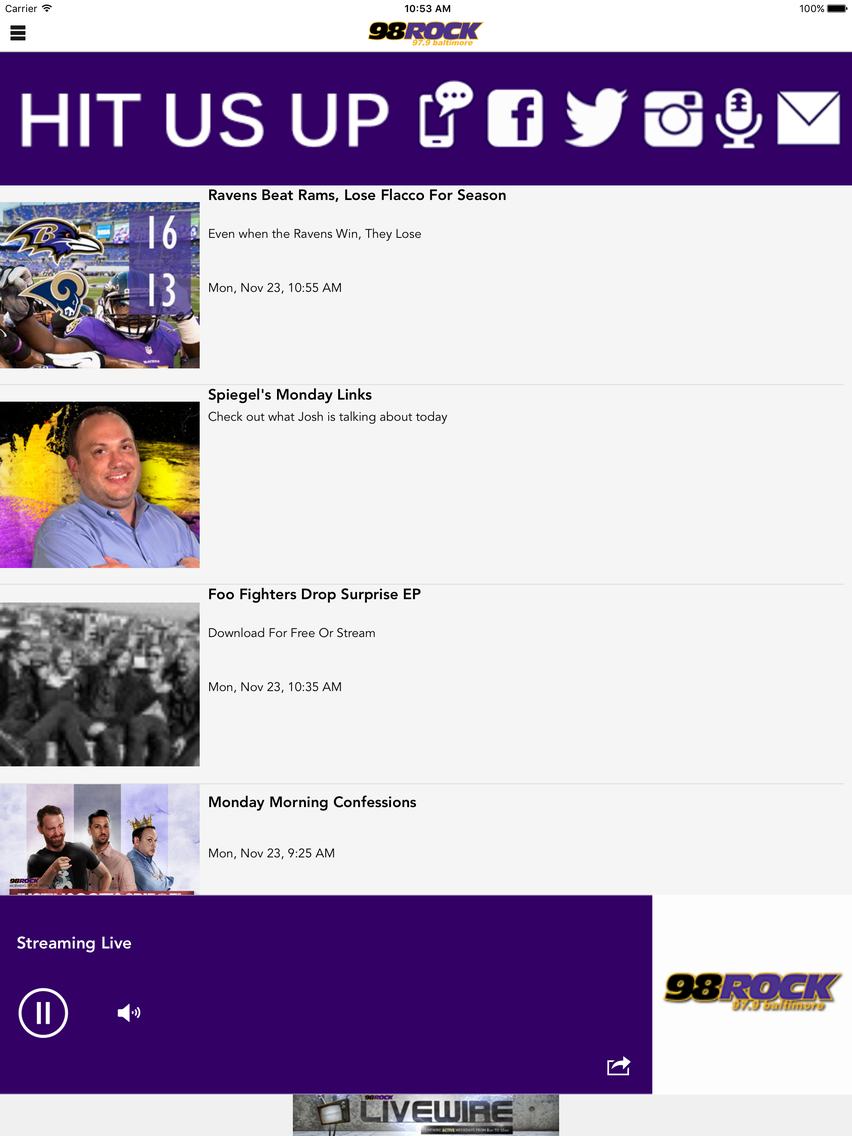 98 Rock Baltimore App for iPhone - Free Download 98 Rock Baltimore