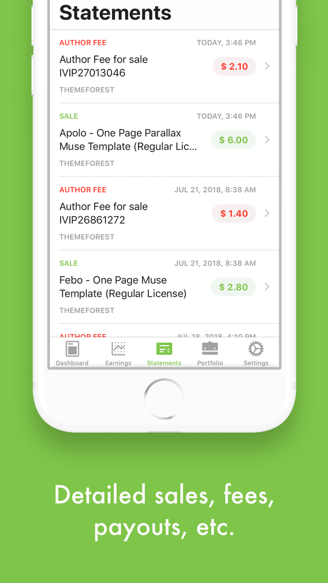 Eden - Envato Sales Tracker App for iPhone - Free Download