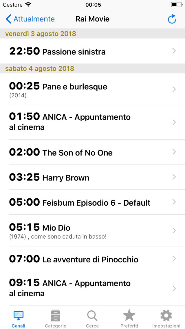 Italian TV Schedule App for iPhone - Free Download Italian TV