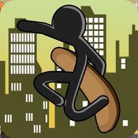 Stick-man Skate-boarding City Sport Jump