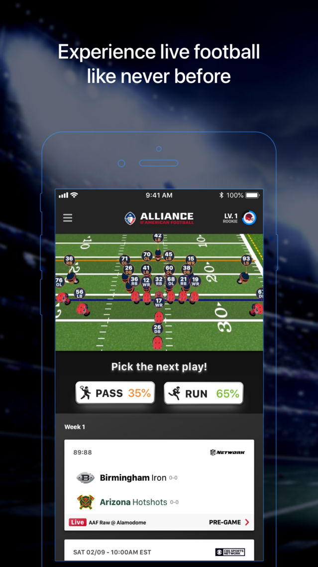 Alliance of American Football App for iPhone - Free Download