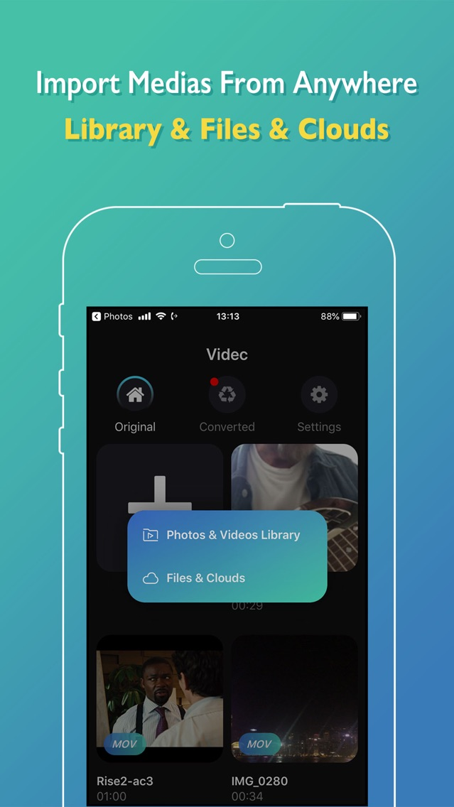 Videc - Any Video Converter App for iPhone - Free Download