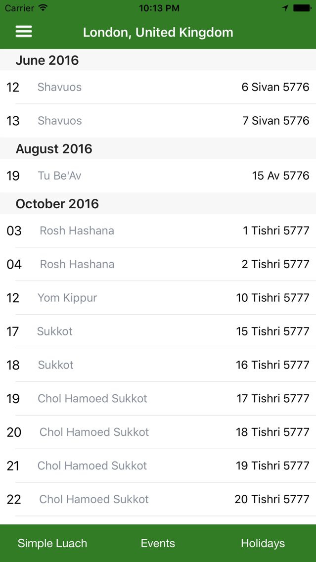 Jewish calendar Simple Luach App for iPhone - Free Download