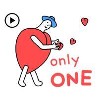 Animated Cute Heartman Sticker